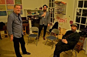 """Green Room"": Frank Kimbrough, Kirk Knuffke and Masa Kamaguchi just before taking the stage at Greenwich House. (Photo: BB)"