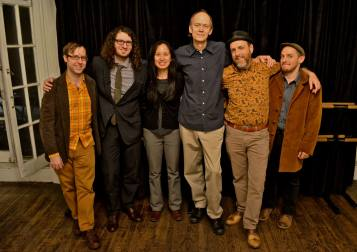 Cats, Herded: The Hank Roberts Sexet is all smiles after their concert in the Sound It Out series at Greenwich House Music School. Left to right, Mike McGinnis (reeds), Jacob Sacks (piano), Dana Lyn (violin), Hank Roberts (cello, compositions), Brian Drye (trombone), Vinnie Sperrazza (drums). Photo: BB