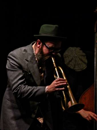 Brass & Bass: Cornetist Kirk Knuffke and bassist Masa Kamaguchi at Greenwich House during their concert with pianist Frank Kimbrough. (Photo: BB)