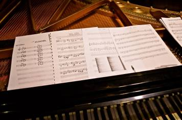 Tunes: Some of Frank Kimbrough's sheet music -- including songs by Carla Bley, Kirk Knuffke and Andrew Hill -- spread on the Steinway at Greenwich House before the pianist performed with the cornetist Knuffke and bassist Masa Kamaguchi. (Photo: BB)