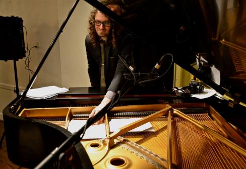Soundcheck 3: Pianist Jacob Sacks going through music before playing with the Hank Roberts Sextet at Greenwich House. (Photo: BB)