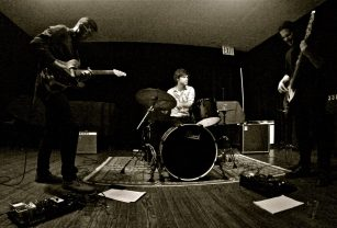 """Electrifying: Nick Millevoi's Desertion Trio -- featuring drummer Kevin Shea and bassist Johnny DeBlase -- performed songs from the guitarist's great Clean Feed album """"Desertion"""" at Greenwich House, plus new material for the already-recorded follow-up. (Photo: BB)"""