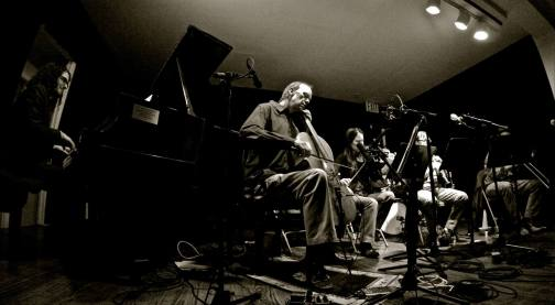 Hot Mics: Cellist Hank Roberts leads his sextet onstage at Greenwich House, with the performance recorded for a live album. (Photo: BB)