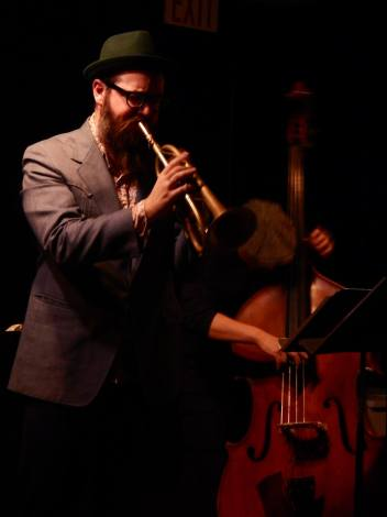 Shadow and Light: Cornetist Kirk Knuffke and bassist Masa Kamaguchi at Greenwich House, performing in a trio with pianist Frank Kimbrough. (Photo: BB)